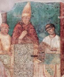 Bonifacio VIII en un fresco de Giotto en la iglesia de San Giovanni in Laterano, Roma (fuente wikipedia)