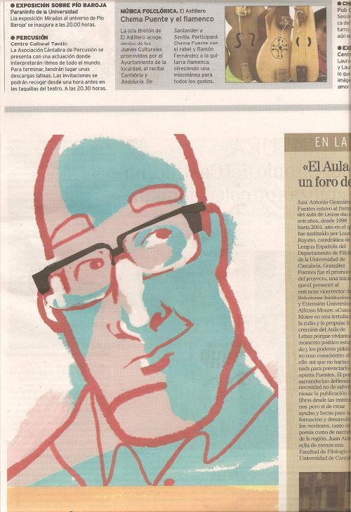 Caricatura de Juan Antonio González Fuentes (obra de Carlos Díaz para El Mundo)