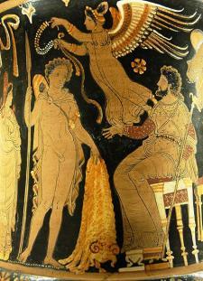 Jasón regresa con el vellocino de oro en una crátera roja de Apulia, c. 340-330 a. C. (fuente: wikipedia)