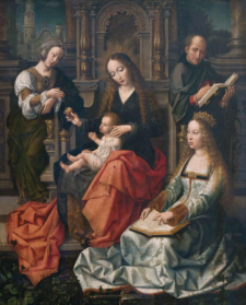 Sagrada Familia con Santa Magdalena y Santa Catalina del Maestro de la Santa Sangre (atribución)