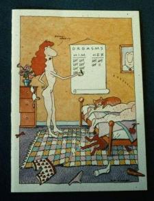 Ilustración del dilema de la mutualidad orgásmica en las relaciones heterosexuales. El pie dice: