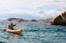 Excursión en kayak por Águilas - Cala Cocedores, al fondo la línea de costa almeriense (foto propiedad de Eco-Viajes)
